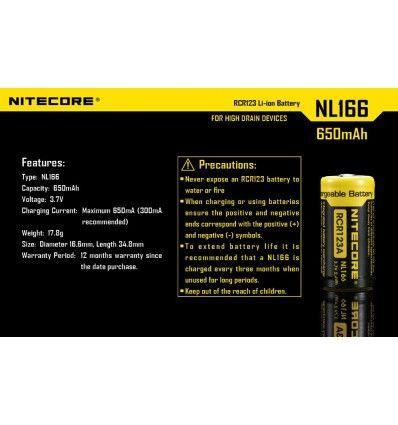 Batterie RCR123A Li-ion Rechargeable